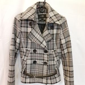 Grey Plaid Pea Coat